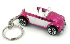 Custom Keychain VW Volkswagen Beetle Bug Convertible Pink and White Key Ring Fob