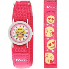 Ravel Children's  Kids Pink Nylon fastening Emoji Strap Watch