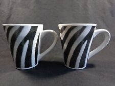 ZEBRA MUGS Coffee Cups Set of 2 Black White Signature Housewares