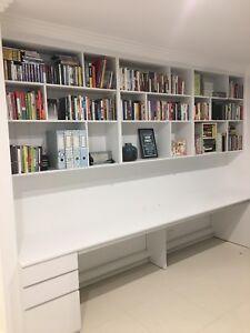 """Eliza 1.0"" Study Room Wall Unit Computer Desk Filing Drawer Bookshelf"