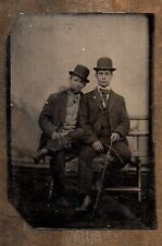 2 Buggy Coach Drivers on a Bench with Bowler Hat with On Buggy ~ Whips Tintype