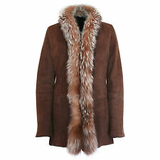 KITON $6,976 women's fur lined suede leather jacket fox trim collar coat 46-IT