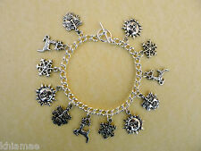 Yule 12 Charm Bracelet - stag sun snowflake winter solstice wiccan pagan silver