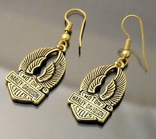 "Earrings Harley Davidson Dangle Drop 1"" Gold Tone Genuine HD Hallmark Copyright"