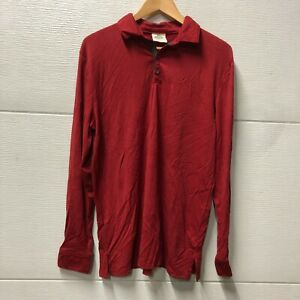 Ramblers Way Red Long Sleeve Polo Shirt Wool Men's Large New w/Defects