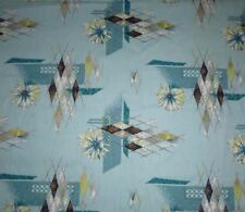 """NOS Yd Vtg ATOMIC Turquoise Aqua Cotton Barkcloth 41.5"""" By The Yard Deadstock"""