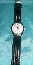 HMT 17J Hand Wind Wrist Watch - Black Leather Like Band -White Face