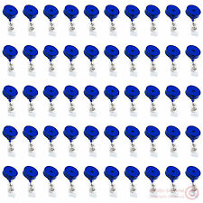 Lot 50pcs Blue Retractable Key Tag/ID Card/Badge Reel Holder,Belt Roller Clip