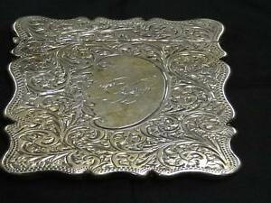 Antique Edwardian Silver Card Case, Decorated Scrollwork, Birmingham, S&B, 1902