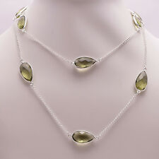 925 Sterling Silver Overlay Necklace, Peridot Quartz Gemstone Jewelry PN441