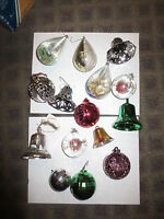 Lot 15 1950s plastic bell cutouts teardrop ball vintage christmas ornaments