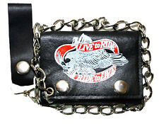 """Men's Genuine Leather Trifold """"Ride To Live"""" Chain Snap Close Wallet w Belt Loop"""