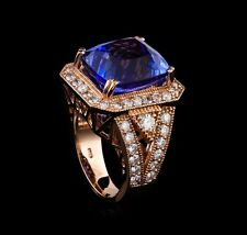 Rare Tanzanite 15.8 CTW and Diamond Ring 1.66 CTW, 14KT Rose Gold, AIG Appraised