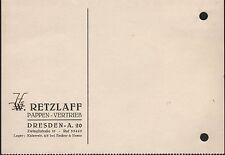 DRESDEN, Postkarte 1937, Retzlaff Pappen-Vertrieb