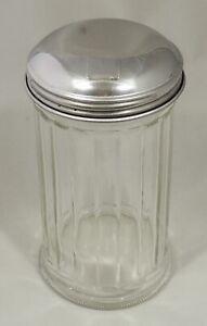 Sugar Dispenser Glass Jar Stainless Steel 12 Ounce Pourer Shaker EUC