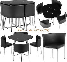 Washington Stowaway Dining Set in Black Glass and Chrome with Black PU Chairs