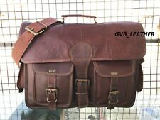 "18"" Men's Briefcase Leather Ready to Ship Vintage Messenger Laptop Computer Bag"