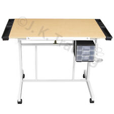 Drafting Table Drawing Table Adjustable Tilt Castors Wood Top CGW