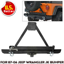 Rock Crawler Rear Bumper With Tire Carrier Swing For 87-06 Jeep Wrangler TJ YJ