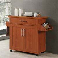 Kitchen Cart Storage Cabinet Serving Bar Island Trolley Spice Rack Furniture NEW
