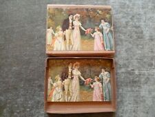 Genuine Complete Boxed Wooden Jigsaw Puzzle Wedding Chromo Litho Pretty Girls