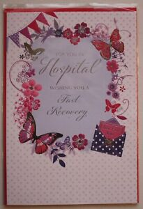 FAST RECOVERY IN HOSPITAL Card - foil detail BUTTERFLIES - SIMON ELVIN Brand