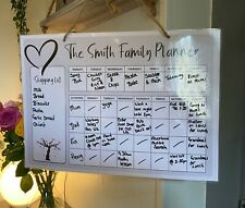 Grey Hanging Family Planner - Wipe Clean - To Do List Organiser Kids Food Meals