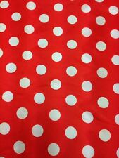 Designer Red  / White  Satin Print Polka Dots Dress Craft Fabric