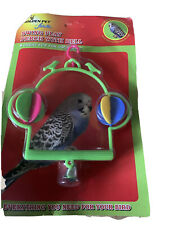 High Quality Plastic Bird Budgie Canary Finch Swing Play Perch With Bell Green
