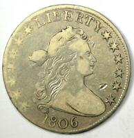 1806 Draped Bust Half Dollar 50C - VF Details Condition - Rare Early Coin!