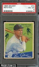 1934 Goudey #70 Pete Fox Detroit Tigers PSA 4 VG-EX