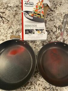"""All-Clad Nonstick Hard-Anodized 2-Piece Frying Pan Set Non-Stick Fry 12"""" 10.5"""""""