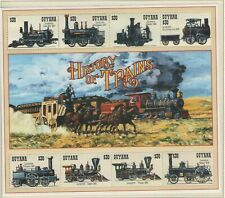 GUYANA HISTORY OF TRAINS 1994 SOUVENIR SHEET  OF MINT STAMPS