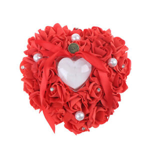 Heart-Shape Rose Flowers Romantic Wedding Jewelry Case Ring Bearer Pillow Hol MJ