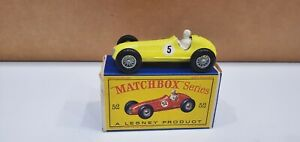 MATCHBOX LESNEY #52a MASERATI 4CLT RACER Rare Number 5 Decals Mint in Box