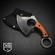 """Black Tactical Straight Edge Fixed Blade Cleaver Axe Hunting Knife Karambit 6.5"""""""