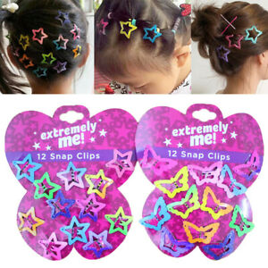 12PCS/Set Kids Barrettes Girls' BB Clip Candy Color Hair Clips Hair Accessories