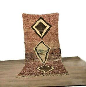 Shaggy Rug Handmade Carpet Teppich Runner Bouchrouite Cotton Brown Color 8'X4'ft