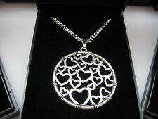 JobLot 10 Silver Plated Necklaces 18inch & Round Heart Design Pendant & gift box