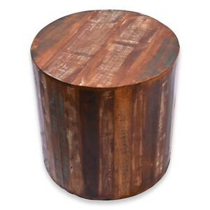 Rustic Reclaimed round 18 inch Side table   Accent Table   End Table