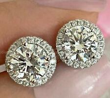 4.33ct Diamond Round cut Stud Earrings Solid 14k White Gold Heavy Screw Back