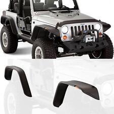 07-17 Jeep Wrangler JK Black Textured Flat Style Fender Flares+LED Side Markers