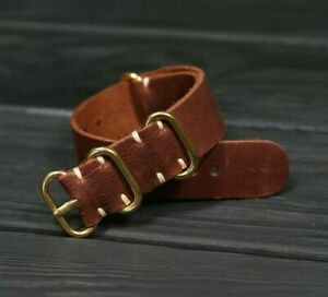 Brown Leather Watch Strap personalize Custom Army Distressed Band 18mm 20mm 24mm