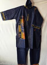 Men Clothing African Pant Suit Kente Fabric Patch Dashiki Free Size Navy Blue