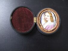 Sweet Little Miniature Portrait Painted on Marble Young Woman 1860? Union Case