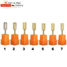 3/32'' Gold Carbide Nail Drill Bits Polish File Broach Smooth Top Manicure