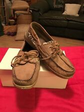 MAUI ISLAND WOMEN'S BROWN LEATHER BOAT SHOES SIZE 7.5M