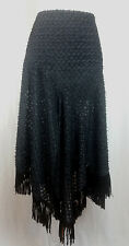 BERFINI Designer Black Semi-Sheer Skirt Double Slits Asymmetrical Fringe Hem 6