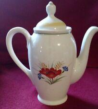 arabia teapot made in Finland, FLOWER DESIGN, white porcelain