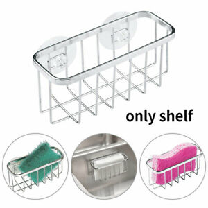 Kitchen Small Sponge Holder Sink Caddy Strong Suction Cups Metal Space Saving